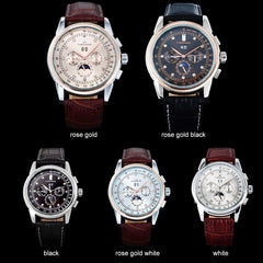 Men Watches Casual Auto Mechanical Genuine Leather Strap Watch Rhinestone Moon Phase Display