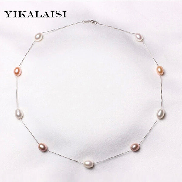 Natural Pearl Chokers Necklaces 925 Sterling Silver Jewelry Pearl Necklace Silver Chain Accessories