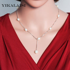 Chokers Necklaces Women 925 Sterling Silver Jewelry Silver Chain Pearl Necklaces
