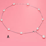 Natural Chokers Necklaces Women 925 Sterling Silver Jewelry Silver Chain Pearl Necklaces Pendants Gifts