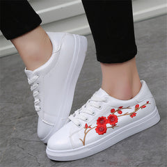 White Shoes Women Platform Loafers Embroider Creepers Spring Lace-Up Flats Casual Flowers Shoes
