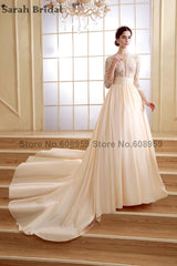Sexy Sheer Hollow Lace Wedding Dresses Elegant O-neck Bridal Gowns