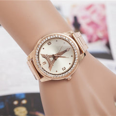 Women Eiffel Tower Gold Watch Ladies Stainless Steel Rhinestone Quartz Relogio Feminino