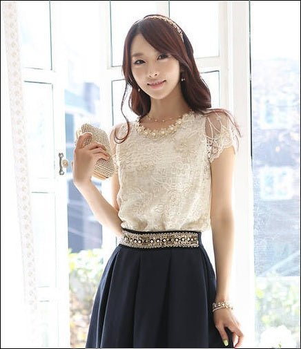 59521a780bca78 Women s Beading Lace Embroidered Formal Tops Blouses Women Blouses Shirt