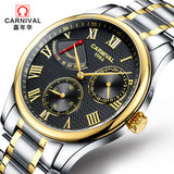 Men's Genuine Carnival Automatic Mechanical Watch Stainless Steel Waterproof Watches