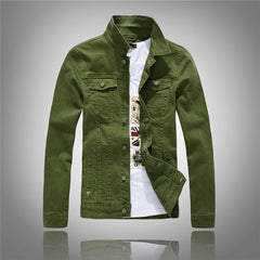 Mens Cotton Jackets Coats Casual Denim Jacket Men Jeans White Black Army Jacket