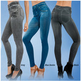 Leggings Jeans Women Denim Pants Pocket Slim Leggings Fitness Leggings Black/Gray/Blue