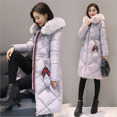 Long Parkas Women Large Fur Collar Hooded Jacket Warm Winter Outwear Thick Padded Cotton Coat