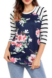 Vintage T-Shirts Women Floral Print T Shirt Casual O-Neck Long Sleeve Slim Patchwork Tops Tees