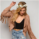 Autumn Women Fringe Jacket Short Tassel Suede Jacket Solid Faux Suede Coat Cardigan