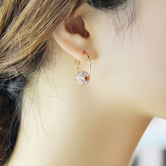 Austrian Crystal Gold Earrings Woman Wedding Jewelry Gift