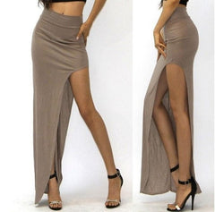 Charming Sexy Women Long Skirts Open Side Split Skirt Long Maxi Skirt Solid Color