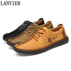 Comfortable Men Flat Shoes Lace-up Solid Casual Shoes Footwear Huarache