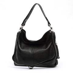 Genuine Leather Tassel Women's Handbag Shoulder Tote Messenger Bag Purse Satchel Black White