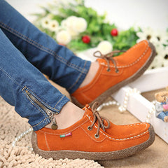 Women Casual Shoes Wild Lace-up Flats Warm Comfortable Concise Shoes Breathable Shoes