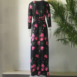 Women Reach The Ground Long Dress Rose Printed Long Sleeve Length Dress
