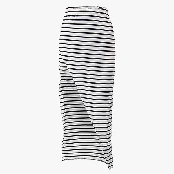 Women Summer Casual Beach Bandage Pencil Skirt Side Split Black White Stripes Long Maxi Skirts