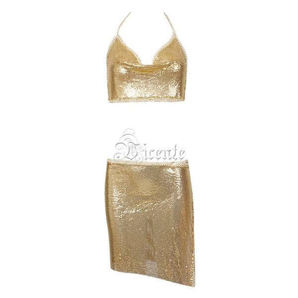 Summer Sexy Shine Bling Metal Chain Halter Split Two Pieces Women Party Dress Sexy Club Dress