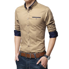 Men Shirts High Long Sleeve Slim Fit Shirt Pure Color Modern Casual Big Size