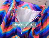 Spring Summer Skirts Women High Waist Rainbow Striped Midi Skirt Pleated Mini Skirt