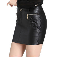 Spring Summer PU Leather Skirt Casual High Waist Skirts Plus Size Vintage Bodycon Mini Skirt