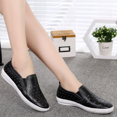 Summer Women Shoes Genuine Leather Flats Casual Flat Loafers Leather Black Flat