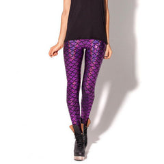 Black Milk Digital Print Women Mermaid Fish Scale Leggings Plus Size Colors