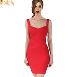 Women Sexy Spaghetti Strap Rayon Celebrity Bandage Dress Bodycon Mini Club Party Dresses