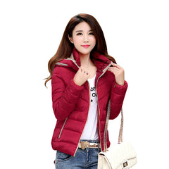 Women Autumn Winter Short Coats Solid Hooded Down Cotton Padded Slim Pockets Jacket