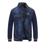 Denim Jacket Men Streetwear Stand Collar Zipper Spring Autumn Casual Jacket Jeans Coat