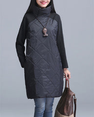 Autumn Winter Women Dress Turtleneck Casual Loose Patchwork Cotton Black Gray Red Tunic Vestidos