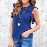Ruffle Chiffon Blouse Off Shoulder Women Summer Tops Sleeveless Office Shirts Long Tunic Tops