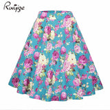 Women Midi Skirt Dot Floral Print Vintage Black Summer High Waist Ball Gown Tutu Skirt