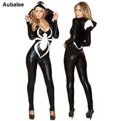 Spiderman Jumpsuit Black Halloween Costume Women Venom Spider Sexy Faux Leather Catsuit Hood