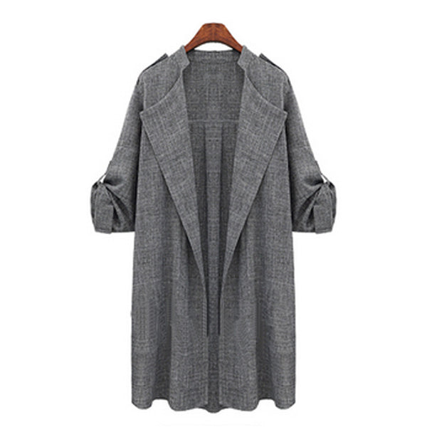 Spring Autumn Women Slim Casual Lapel Windbreaker Cape Coat European Linen Cardigan Jacket