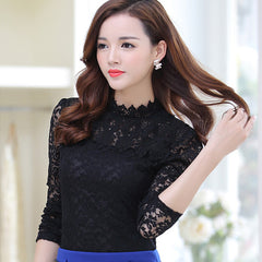 Women Summer Lace Blouse Long Sleeve Slim Body Floral Shirt Plus Size Lace Top