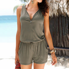 Summer Women Beach Sleeveless Jumpsuit Loose V Neck Front Zipper Jumpsuits Rompers