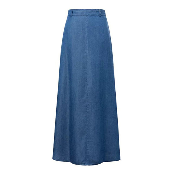 Summer Long Maxi Skirt High Waist Floor Length Denim Jeans Skirts Women Casual A Line Jeans Pockets