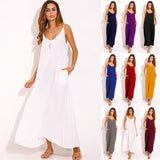 Summer Women Dress V Neck Sleeveless Thin Beach Dresses Casual Loose Long Maxi Dress