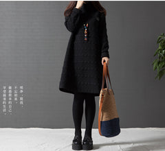Spring Autumn Winter Dress Women Vintage Loose Turtleneck Maternity T Shirts Dress Party Dresses