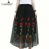 Vintage Tulle Summer Pleated Skirts Floral Embroidery Tutu Skirt High Waist Slim Women Midi Skirt Black