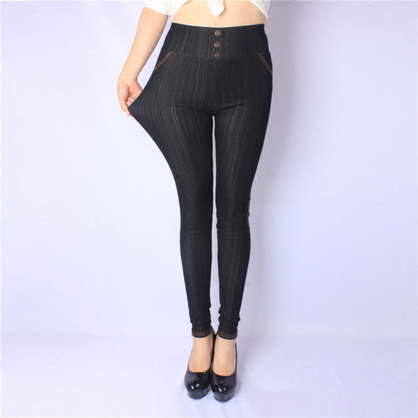 Women Leggings High Waist Jeans Leggings Buttons Plus Size Solid Color Leggings