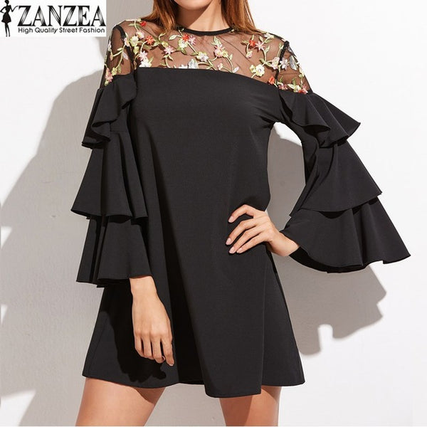ZANZEA Retro Embroidery Mesh Sheer Splice Flouncing Sleeve Casual Party Summer Mini Dress Plus Size