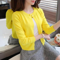 Spring Autumn Sweater Women Cardigan Solid Color One Button Cashmere Sweater