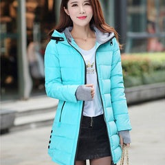 Women Winter Hooded Warm Coat Slim Plus Size Candy Color Cotton Padded Basic Medium-Long Jacket