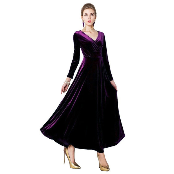 Autumn Winter Women Elegant Casual Long Sleeve Ball Gown Dress