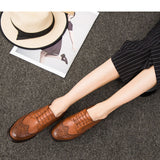 Autumn Women Oxford Shoes Vintage Round Toe Flats Ankle Boots Bullock England Style Shoes