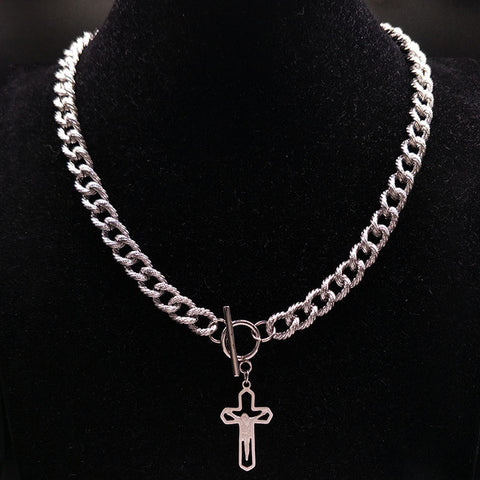 Jesus Cross Stainless Steel jewlery Silver Color Punk Necklaces Jewelry