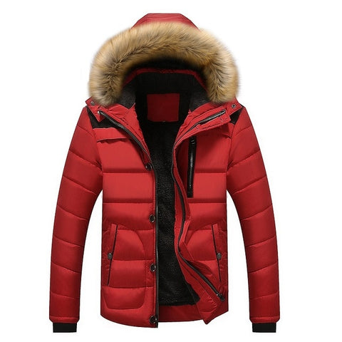 Men Winter Jacket  Casual Outerwear Thicken Warm Inside Fur Collar Detachable Parkas Coats
