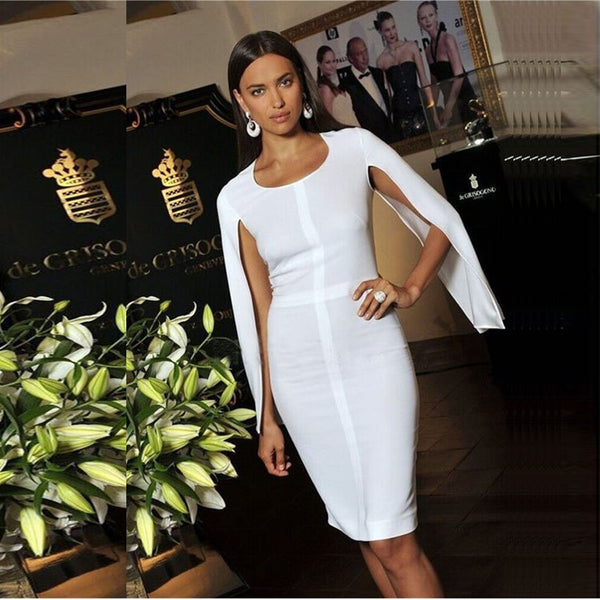 Summer Bandage Women Celebrity White Batwing Sleeve O-Neck Elegant Sexy Night Out Club Dress